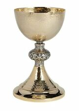 Solid Brass Hammered Chi Rho Chalice With Paten