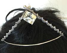 Huge Estate Designer Custom 21ct Yellow Kunzite & diamond Silver Tiara