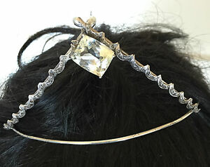 Huge Estate Designer Custom 21ct Yellow Kunzite & diamond Silver Tiara