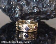 14k Gold Pink Blue Green Tourmaline Byzantine Etruscan Cigar Band Size 7 Ring