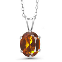 1.10 Ct Oval Orange Red Madeira Citrine 925 Sterling Silver Pendant With Chain