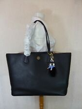 NWT Tory Burch Black/Beige Leather Perry Tote + Free Pete Penguin Keyfob $510