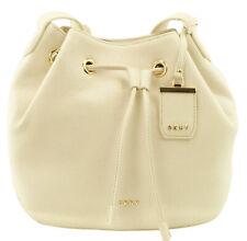 DKNY Bucket Bag Sand Dollar Cream Pebbled Leather Drawstring Medium RRP £225