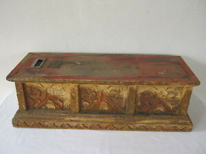 Antique Burmese Thai manuscript Bible box teak