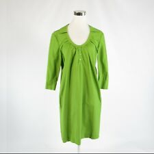 Bright green 100% cotton ALBERTA FERRETTI Philosophy 3/4 sleeve shift dress 4 40