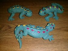 Gecko Figurines, new in box set of three, ceramic material, not plastic or resin