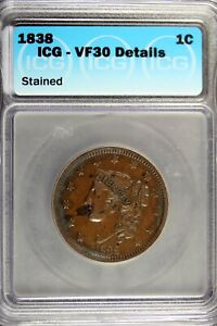 1838 - ICG VF30 DETAILS (STAINED) Braided Hair Large Cent!!  #B18326