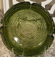 "Vintage Mid Century Modern Anchor Hocking   Green Textured Ashtray 6 1/4 "" Mint"
