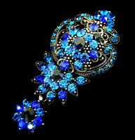 "Fancy WILD FLOWER Rhinestone Retro Vintage Dangle Necklace Pendant BROOCH 3""Blue"
