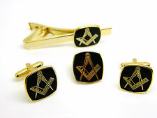 MASONIC BADGE CUFFLINKS TIECLIP AND LAPEL PIN SQUARE AND COMPASS GIFT BOX SET