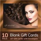 Beauty Salon Gift Voucher Blank Card Hair Salon Hairdressing 10x A7 + Envelopes