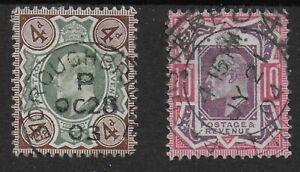 SG235+254. 4d.Green & Grey-Brown+10d.Dull Purple & Carmine-FU-Cat.£110. Ref:1386