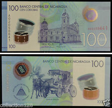 NICARAGUA Polymer Banknote 100 Cordobas 2015 UNC