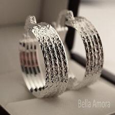 925 Sterling Silver Pltd Diamond Cut Multi Hoop Creole Earrings 23mm New UK -119