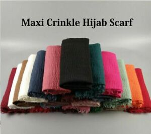 Women Solid Color Cotton Linen Crinkle Cloud Hijab Scarf Shawl Islam Muslim*Crnk