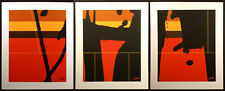 "Matthew Ruddy ""Encounter"" Original Paper Collage Triptych 3pc abstract 1982 OBO"