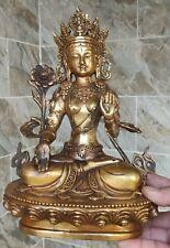 "28cm/11"" Vintage Buddhism Bronze God Buddha Bodhisattva Tara(white) Old Statue"