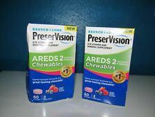 Bausch Lomb PreserVision Areds Lot 2X60=120 Chewables Eye Vitamin C E Zinc 4/20