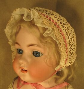 Vintage Doll or Baby Hat - Bonnet - Ecru Tatted Lace w/Pink Trim