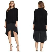 BCBG MAXAZRIA Black Astrella Wool Cashmere Blend Sweater 2 Pcs Dress Women XS