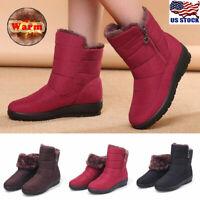 Women Ladies Winter Waterproof Zipper Warm Fur Lined Ankle Snow Boots Shoes Size