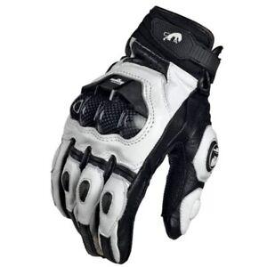 Motorcycle Gloves black Genuine Leather Motorbike white Road Racing Team