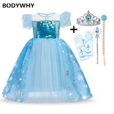 2020 Girl Anna Elsa Princess 2 Dress Costume Crown Glove Magic Wand Wig Cosplay