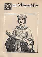 King Arthur-Queen Morgana Le Fay-1903 ANTIQUE VINTAGE PRINT-Medieval-Art Deco