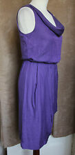 Sleeveless Purple Knee Length Dress with Cowl Neck - Size 8 - Monsoon