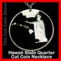 Hawaiian Island Quarter Cut Coin HI Aloha Hawaii State 25¢ Pendant Necklace