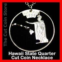 Hawaiian Island State 25¢ HI Quarter Cut Coin Aloha Hawaii Pendant Necklace