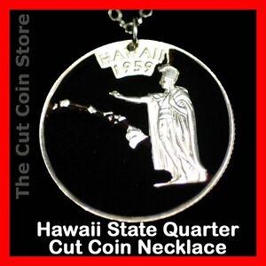 Hawaiian Island Quarter Cut Coin HI Aloha Hawaii State 25¢ Pendant Necklace