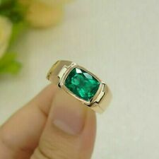 3.00 Ct Cushion Cut Green Emerald Men's Engagement Ring 14K Yellow Gold Finish