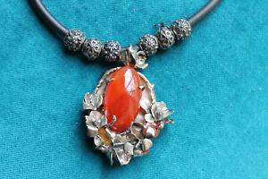 Necklace Sterling Silver Pedant Natural Nacre Huge Carnelian Opal Facet Carnelia