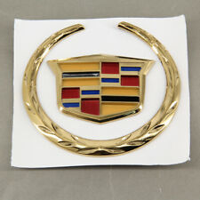 4 In For Cadillac Rear Grille Emblem Hood Badge Gold Logo Chrome Symbol Ornament