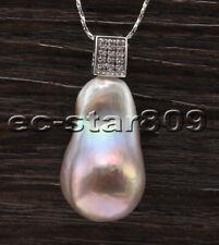 Keshi Reborn Pearl Pendant Chain P6867 Lustre 30mm Lavender Baroque