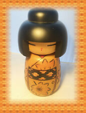 Japanese Wooden Kokeshi Girl 8 3/4 x 4 doll. Pattern front & side. Hand Painted.