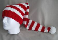 Handmade Knit Santa Hat/beanie - red & white stripes, extra long