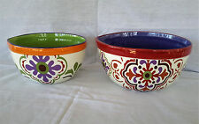 Moroccan Design Ceramic Spouted Mixing Serving Bowls Kitchen Set of 2