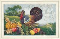 THANKSGIVING – Colorful Turkey Good Wishes for Thanksgiving - 1923