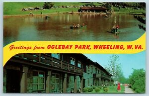 Postcard WV Banner Dual View Greetings From Oglebay Park Wheeling Vintage P11