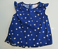 HANNA ANDERSSON Top Shirt Sz 3 (90) Girls Blue White Stars Sleeveless Blouse EUC