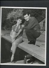 DEBBIE REYNOLDS + EDDIE FISHER CANDID - 1950s AT THEIR HOME SWIMMING POOL