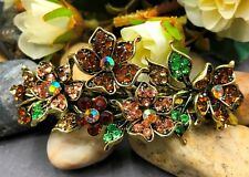 antiqued brown rhinestone crystal  flower hairclip barrette 5809a1