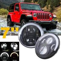 7inch CREE LED Round Headlight Hi-Low Beam Angle Eyes For Jeep Wrangler TJ JK CJ