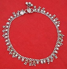 Antique Tribal Old Silver Anklet Pair Belly Dance