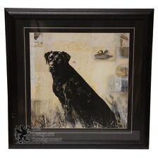 "Black Labrador Retriever Still Life Art Print Country Farm Ducks Lithograph 29"""