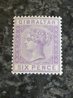 GIBRALTAR SG13 POSTAGE STAMP LILAC 6D 1887 UN MOUNTED MINT