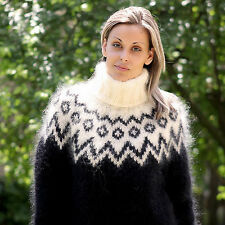 Hand Knit Mohair Sweater Icelandic Nordic Fuzzy BLACK by EXTRAVAGANTZA S M L