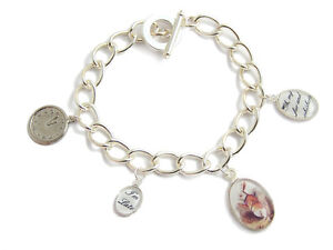 Alice in Wonderland LATE RABBIT charm silver bracelet clock watch mad hatter tea